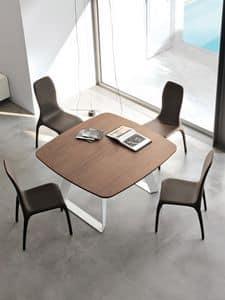 BRENTA, Tavolo allungabile in metallo, piano in legno, per zona giorno