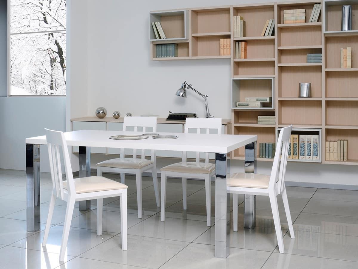 Tavolo semplice in legno e metallo per salotti moderni - Tavoli in legno moderni ...