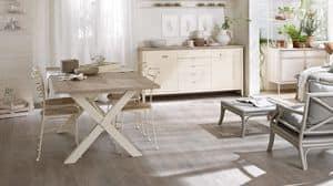 Cosimo tavolo, Tavolo in legno laccato con pennello, per sala da pranzo