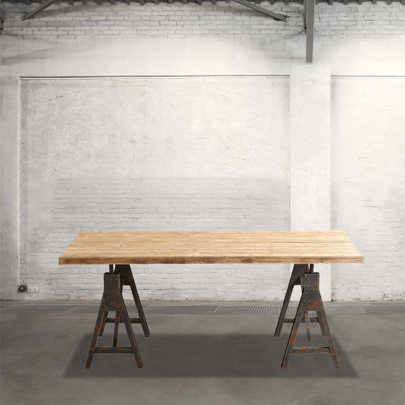 Db002674 tavolo rettangolare con cavalletti in metallo e - Cavalletti in legno per tavoli ...
