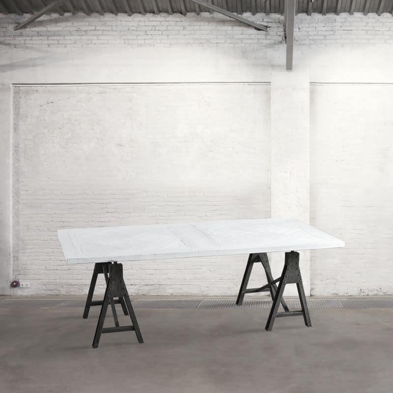 Db003761 tavolo rettangolare con cavalletti in metallo for Tavolo industrial style