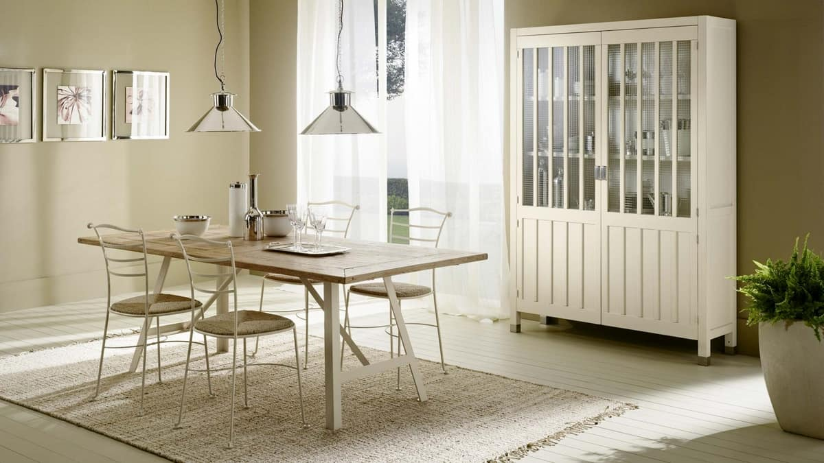 Tavolo con base in ferro top rivestito in rovere idfdesign - Tavoli classici in legno ...