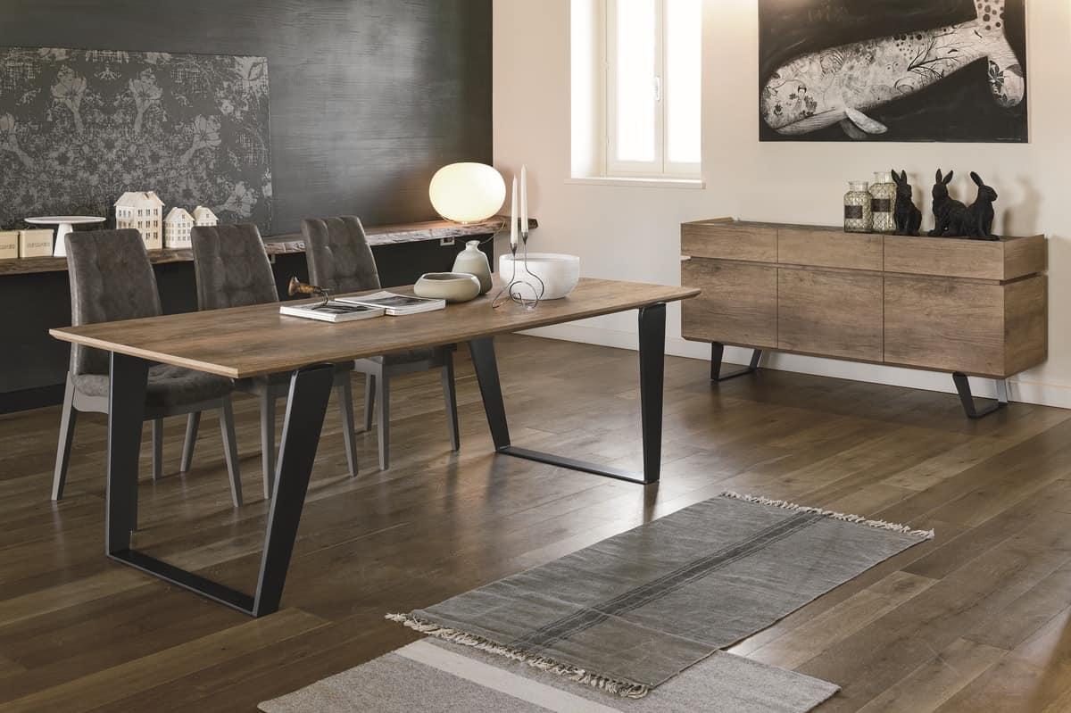 ELECTA 220 TP126, Tavolo con gambe in metallo e piano in laminato