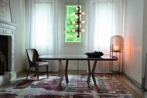 ELYSEE tavolo, Tavolo con base in metallo e piano con bordi arrotondati