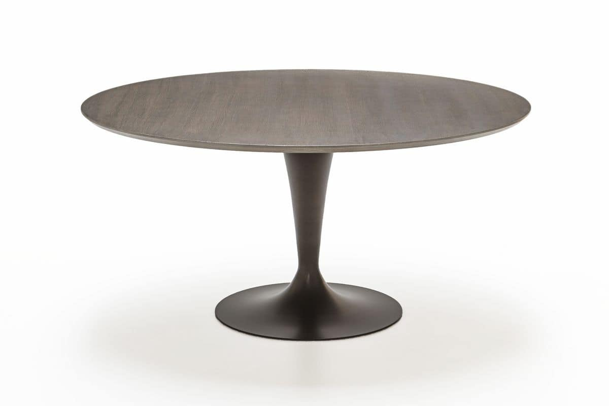 Tavolo rotondo moderno con piano in legno di betulla for Tavolo moderno rotondo