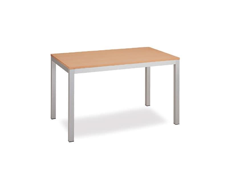 FT 044 rettangolare, Tavolo dal design pulito, in metallo, per sala riunioni