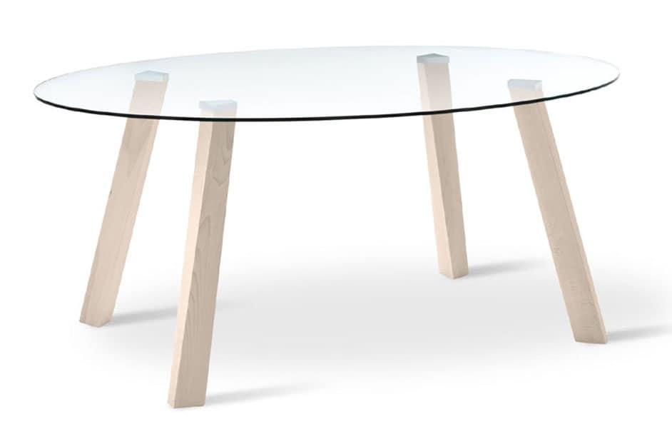 Tavolo ovale con piano in vetro, gambe in faggio | IDFdesign