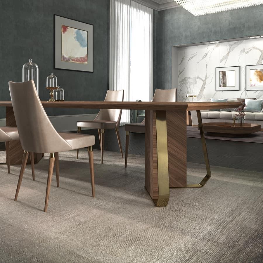 Tavolo in legno impiallacciato con finiture in metallo for Tavolo legno metallo