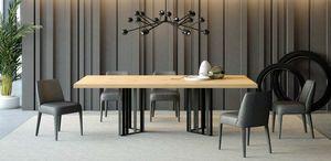 Ironwood tavolo Rovere Jupiter, Tavolo da pranzo in ferro e legno di rovere