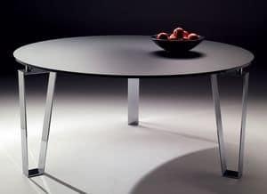 Kyoto round, Tavolo rotondo con base in acciaio, per cucine moderne