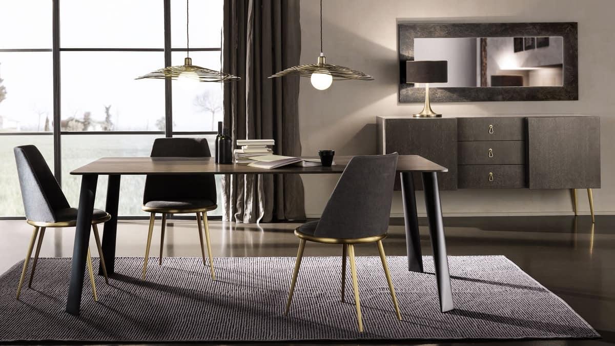 Tavolo rettangolare in ferro con piano in noce affumicato for Tavoli sala da pranzo in legno