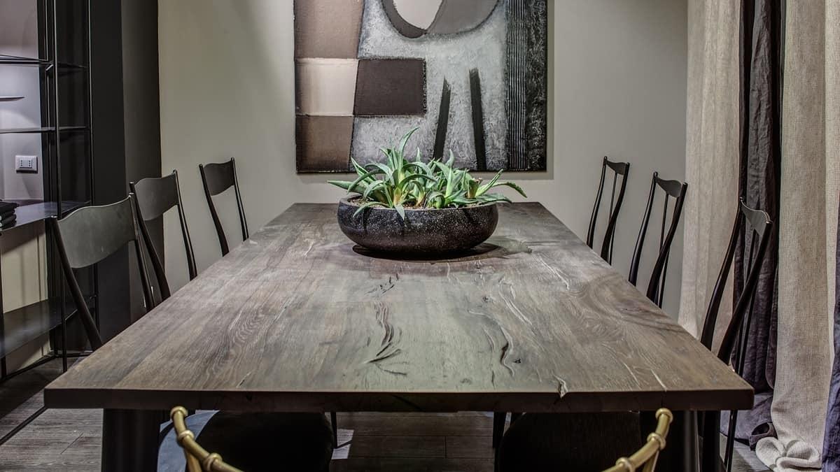 Tavolo Cucina Decorato Jack Cantori : Tavolo rettangolare in ferro con piano noce affumicato