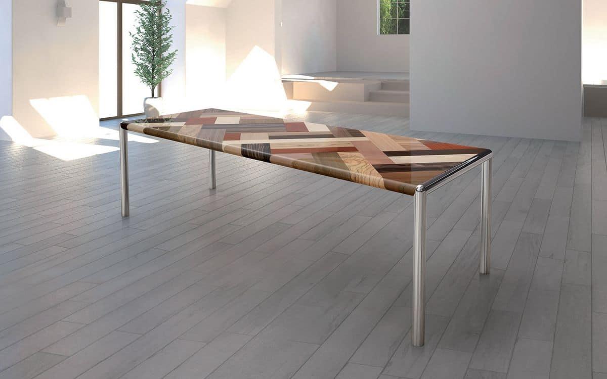 Tavolo grande piano in legno gambe in metallo idfdesign for Tavoli contemporaneo design
