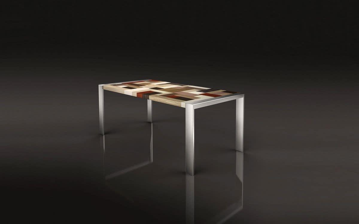 Tavolo In Acciaio Lucido Piano Rettangolare In Tavole Di