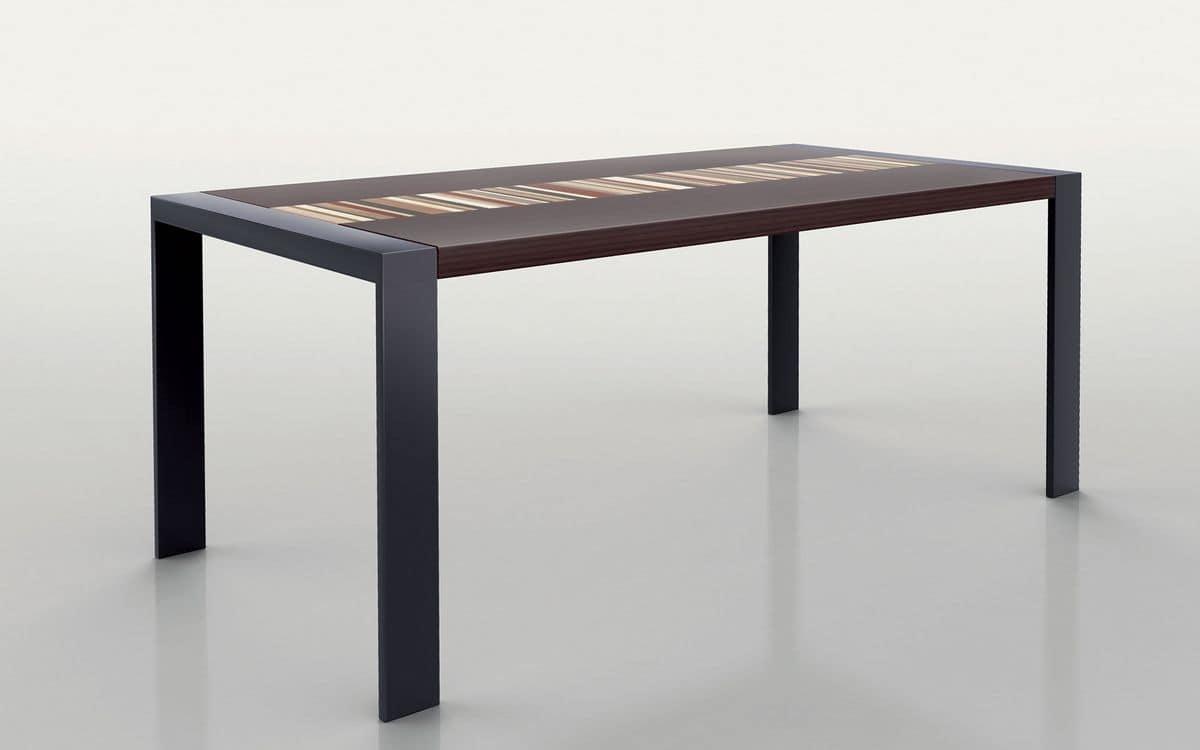 Tavolo rettangolare struttura in metallo piano in legno for Tavolo di design in metallo