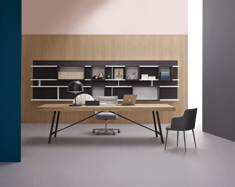 Tavolo con base a cavalletto in metallo piano con - Cavalletti in legno per tavoli ...