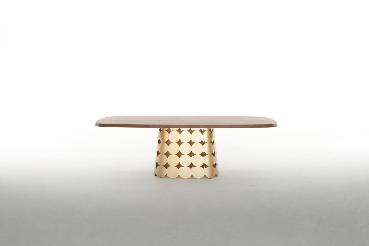 POIS, Tavolo fisso, con top in legno o ceramica