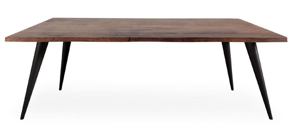 Tavolo fisso in legno con gambe inclinate in metallo for Tavolo legno metallo