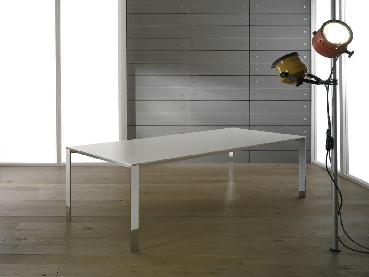 Quadra tavolo rettangolare struttura cromata per cucina for Tavolo legno metallo