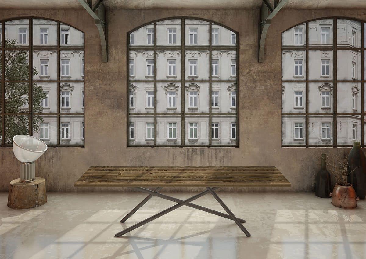 Tavolo Da Pranzo Con Piano In Legno Gambe In Tubolare IDFdesign #5E4C3B 1200 849 Tavoli Da Pranzo In Legno Usati