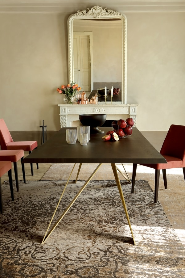 STATUS, Tavolo fisso, con top in legno o ceramica