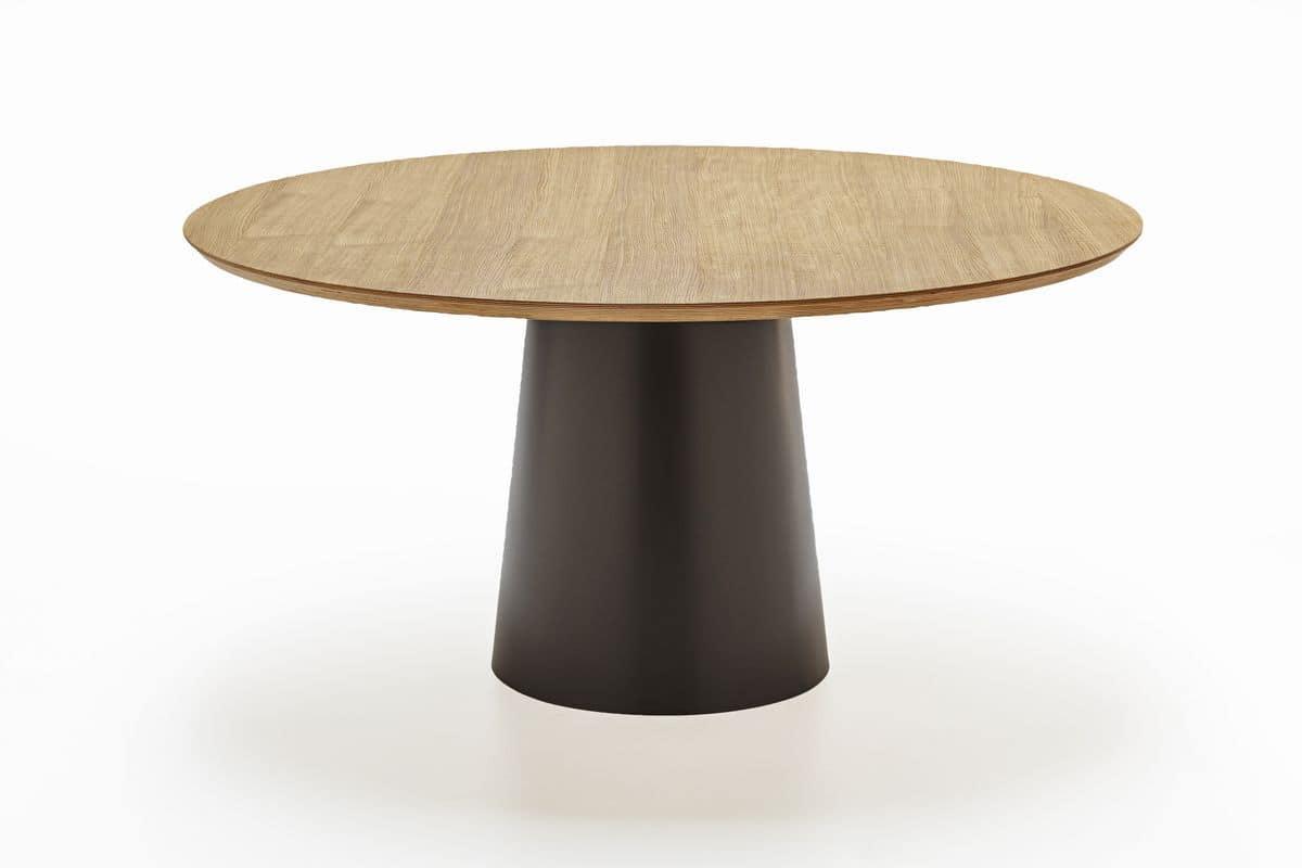 Tavolo rotondo con base in metallo e piano in legno for Design tavoli