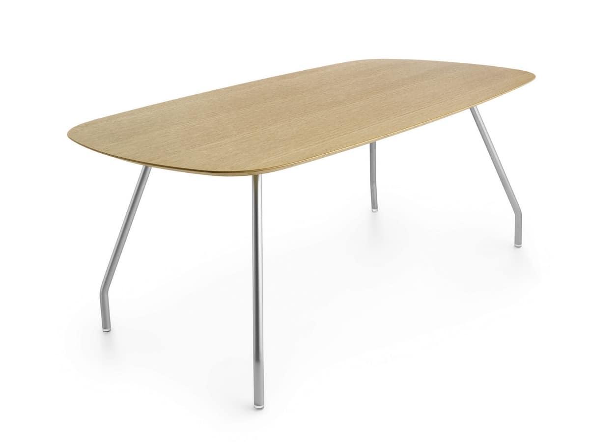 Tavolo ovale in legno con gambe in acciaio idfdesign for Tavolo legno acciaio