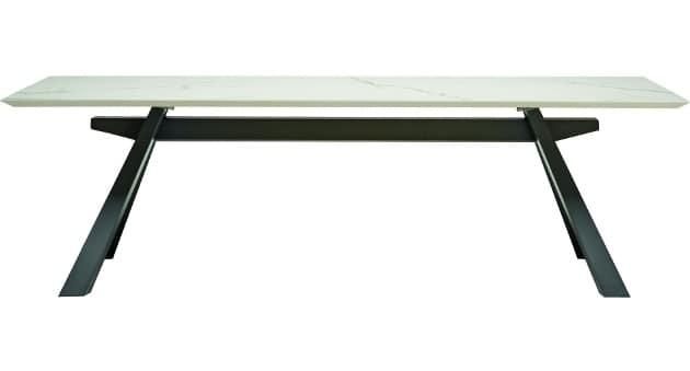Tavolo con struttura in acciaio e piano in legno idfdesign for Tavoli in legno e acciaio