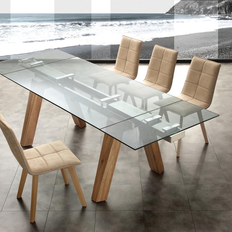 Tavolo allungabile per ufficio o sala da pranzo idfdesign for Tavoli da pranzo in legno