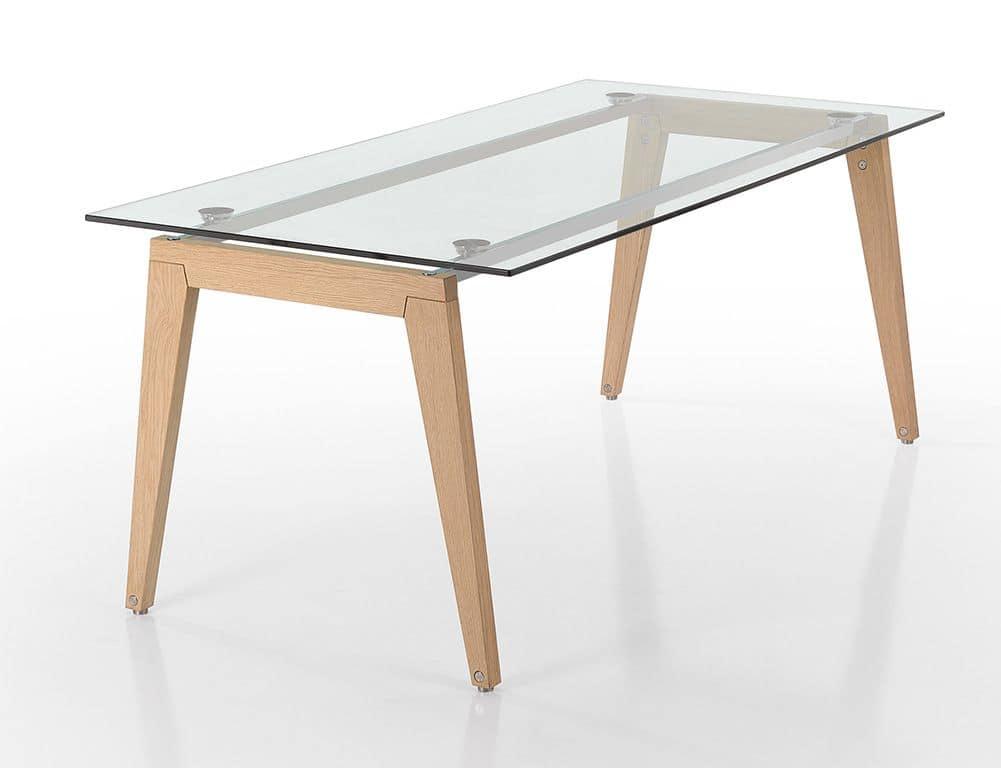 tavolo rettangolare con gambe in legno e piano in vetro