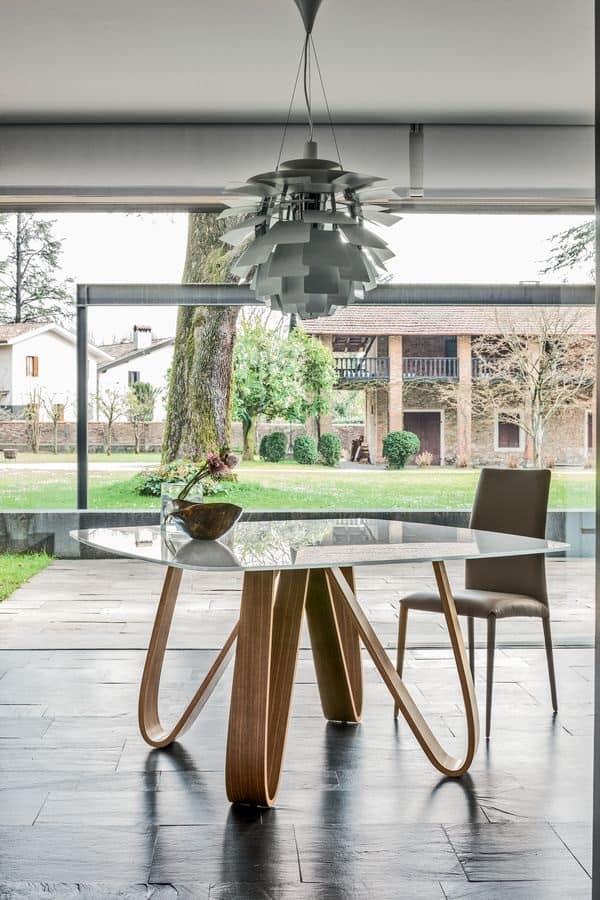 Tavolo con base in multistrato varie finiture top per for Tavolo legno base vetro
