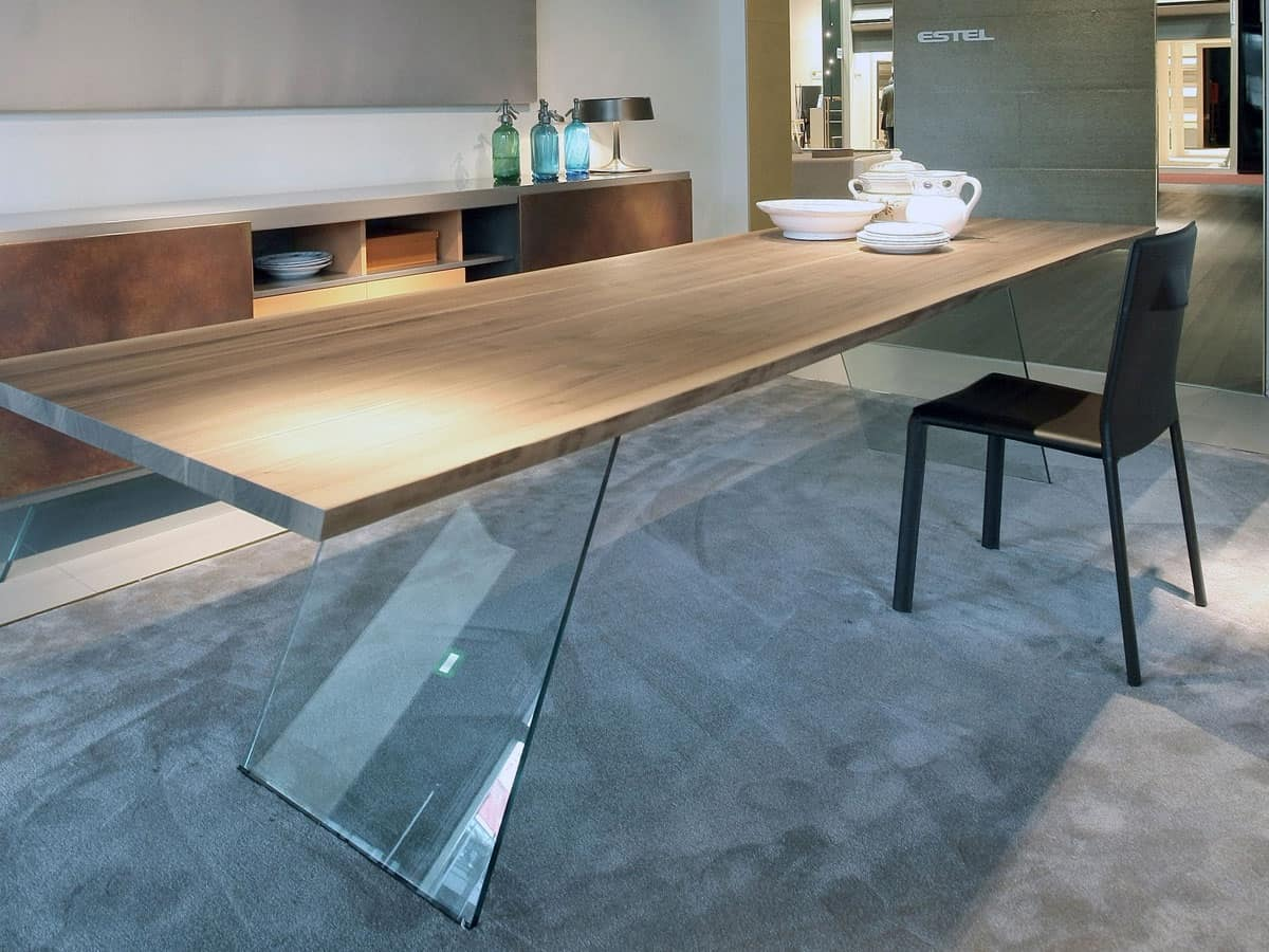 Tavolo con base in vetro, tavolo minimale per soggiorno  IDFdesign