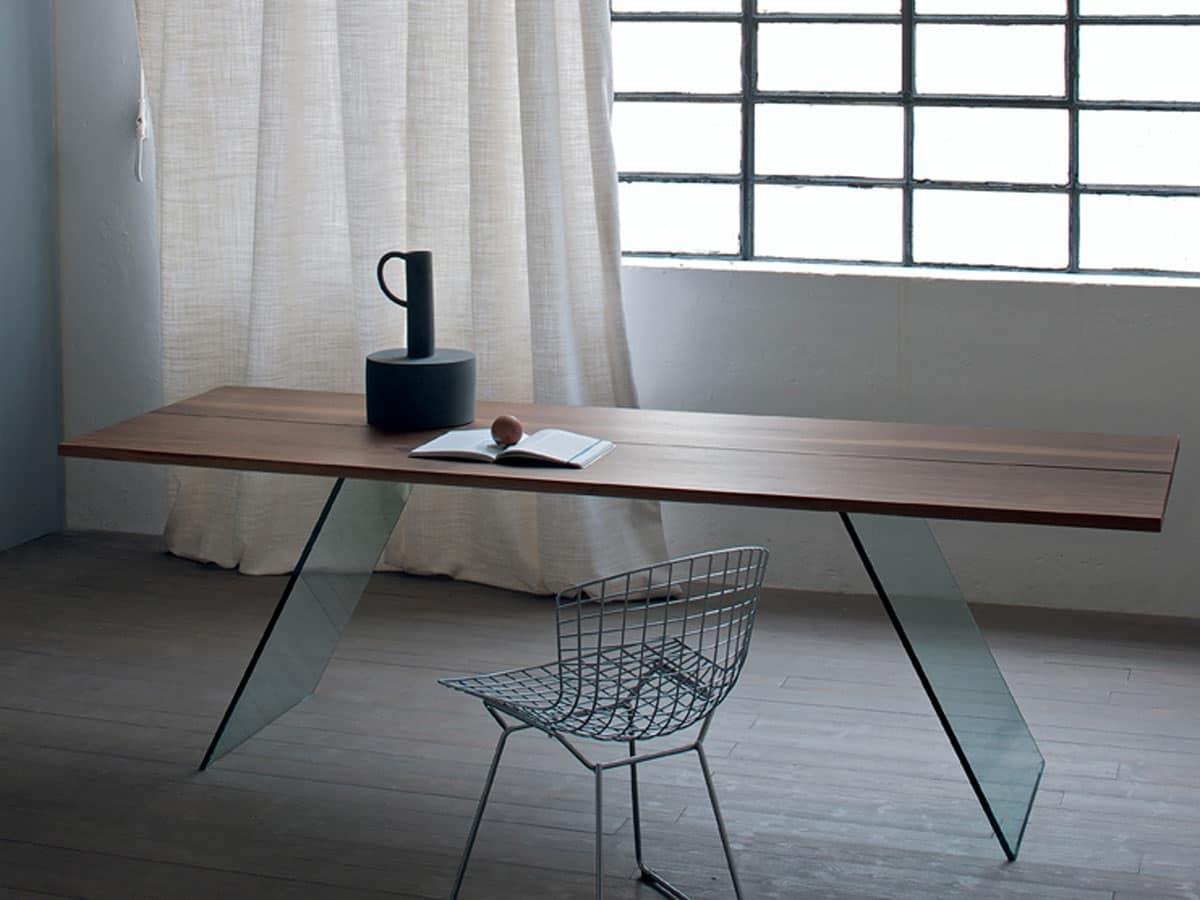 Tavolo con base in vetro, tavolo minimale per soggiorno | IDFdesign