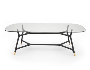 Joyce 5701/F, Elegante tavolo con piano in vetro