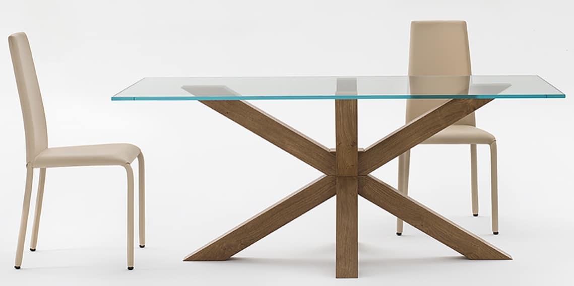 Tavolo moderno con piano in vetro per soggiorno idfdesign - Tavoli in vetro design ...