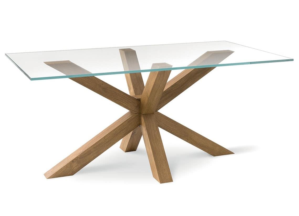 Tavolo moderno con piano in vetro, per soggiorno  IDFdesign