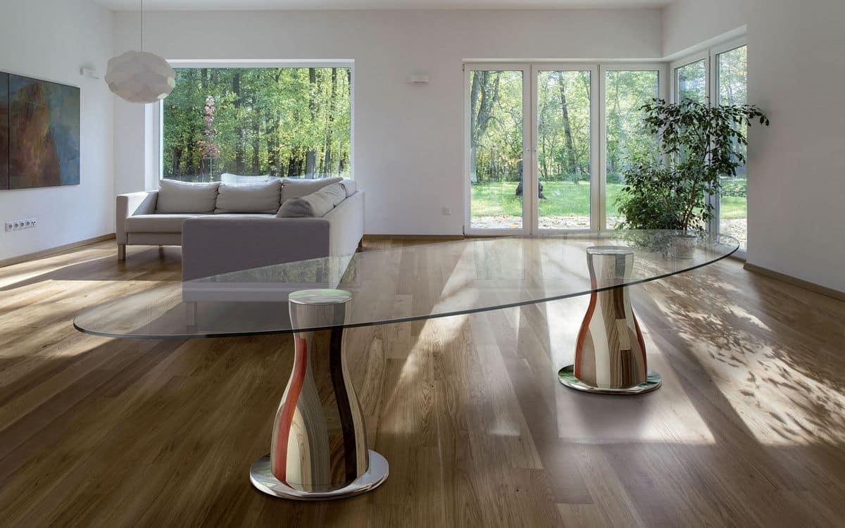 Tavolo ovale 2 basi in legno piano in cristallo idfdesign for Tavoli in cristallo