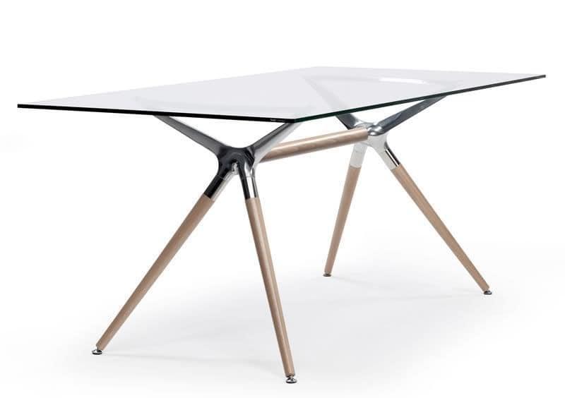 Tavolo design rettangolare in legno piano in vetro for Tavoli semeraro