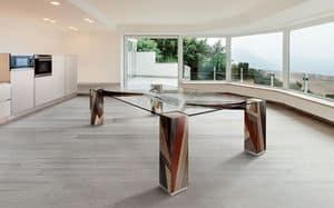 ORFEO 2.5, Tavolo rettangolare, piano in vetro, gambe in legno massello