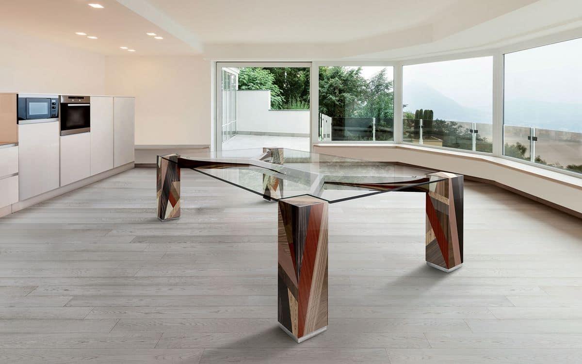 Tavolo rettangolare piano in vetro gambe in legno for Tavoli in cristallo