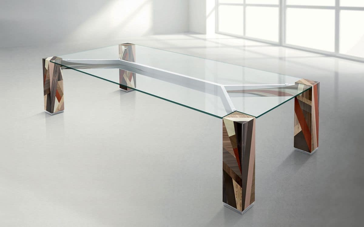 Tavolo in legno massello incrociato piano rettangolare in for Tavoli in cristallo e acciaio