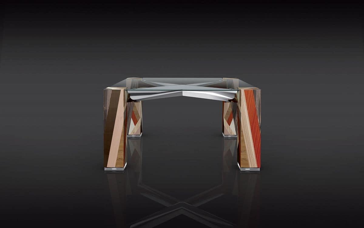 Tavolo quadrato piano in vetro struttura in legno for Tavolo 140x140