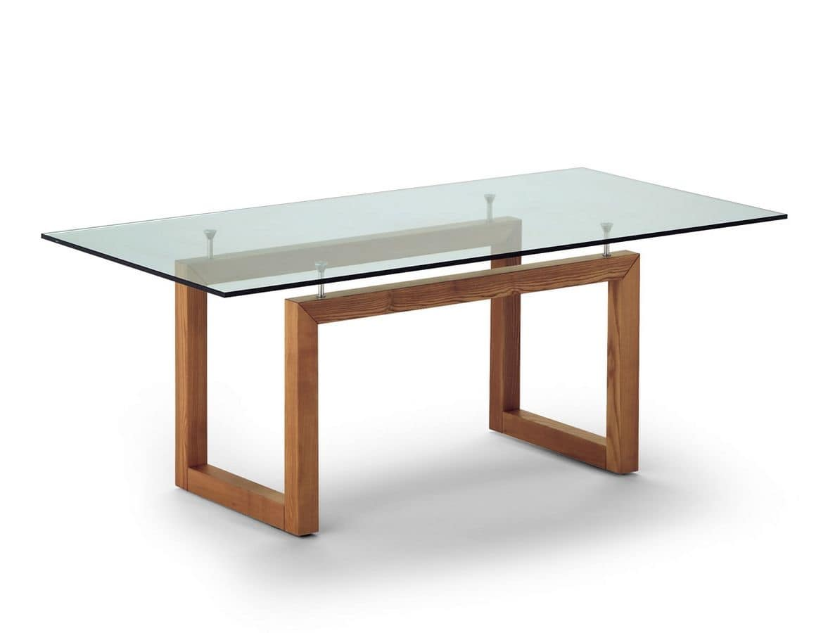 Tavolo con piano in cristallo per ristorante e albergo for Tavoli in cristallo e acciaio