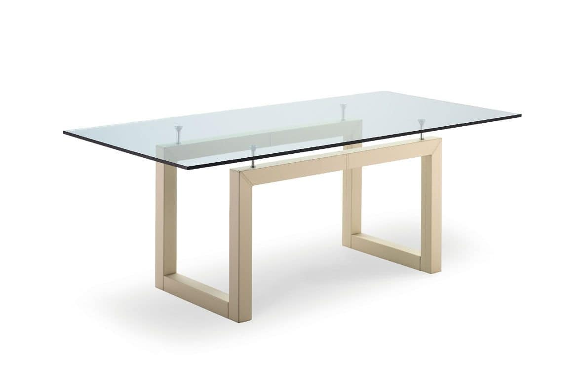 Tavolo con piano in cristallo per ristorante e albergo idfdesign - Tavolo pranzo cristallo ...