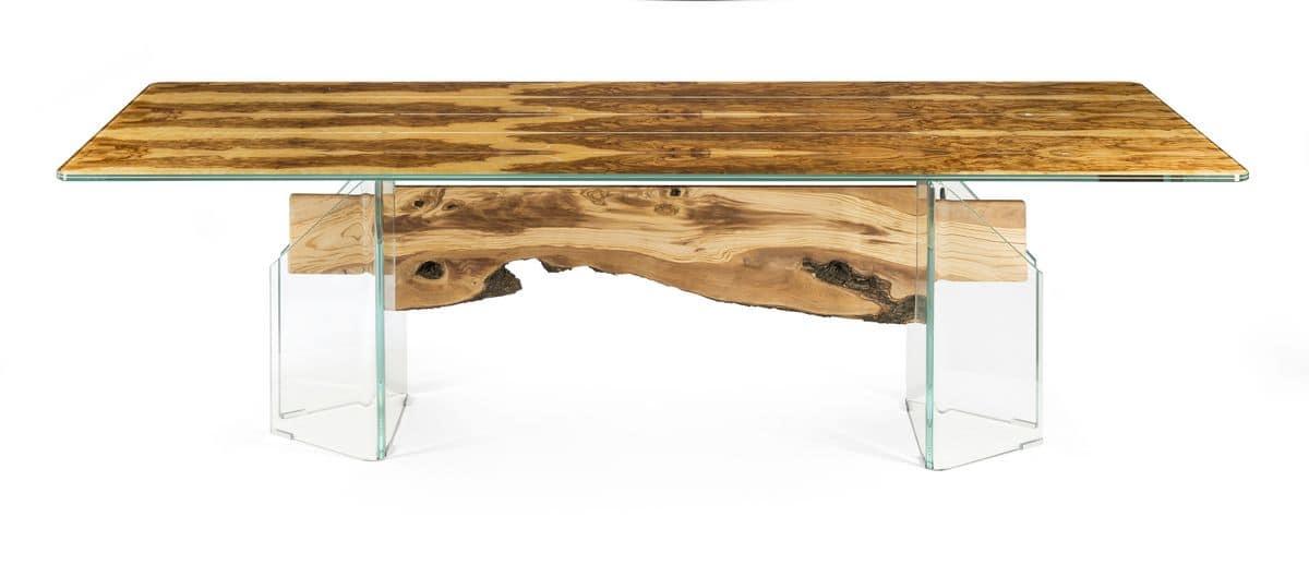 Portofino tavolo rettangolare in legno e vetro idfdesign for Tavoli in vetro e legno