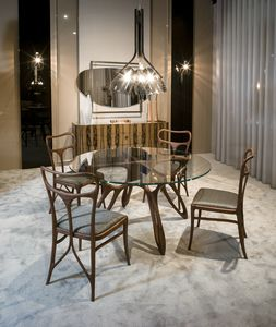 PROMETEO tavolo GEA Collection, Tavolo da pranzo contemporaneo, con piano in vetro