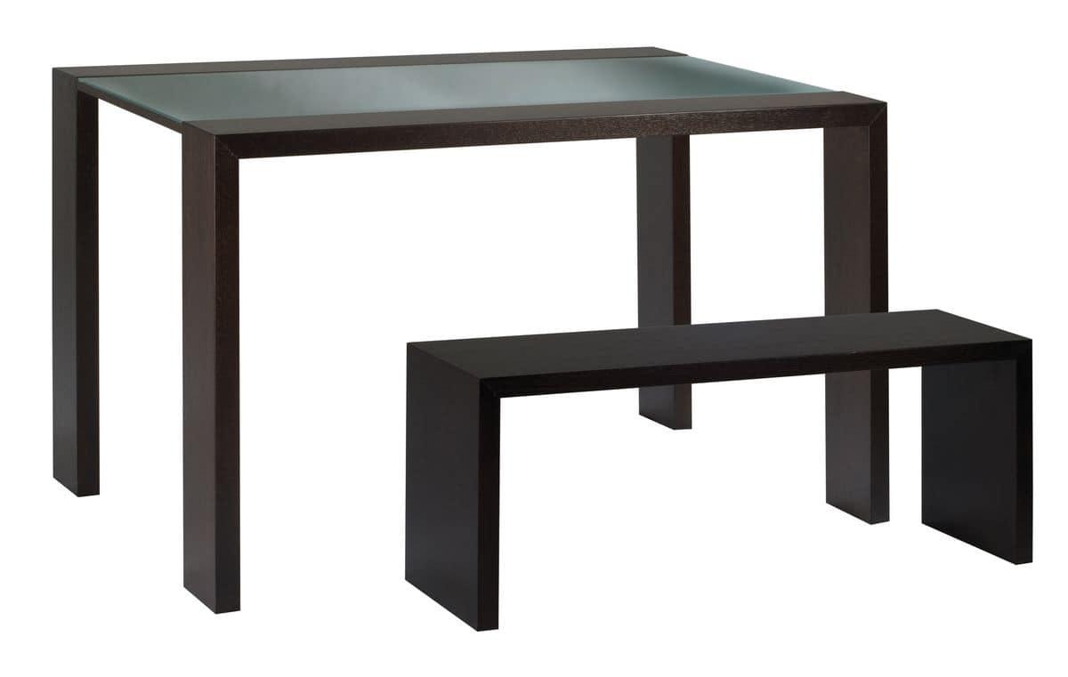 Tavolo con piano in cristallo e panca in legno idfdesign for Piani moderni in vetro