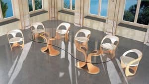 TA42K Mistral, Tavolo con base in legno, piano in cristallo trasparente