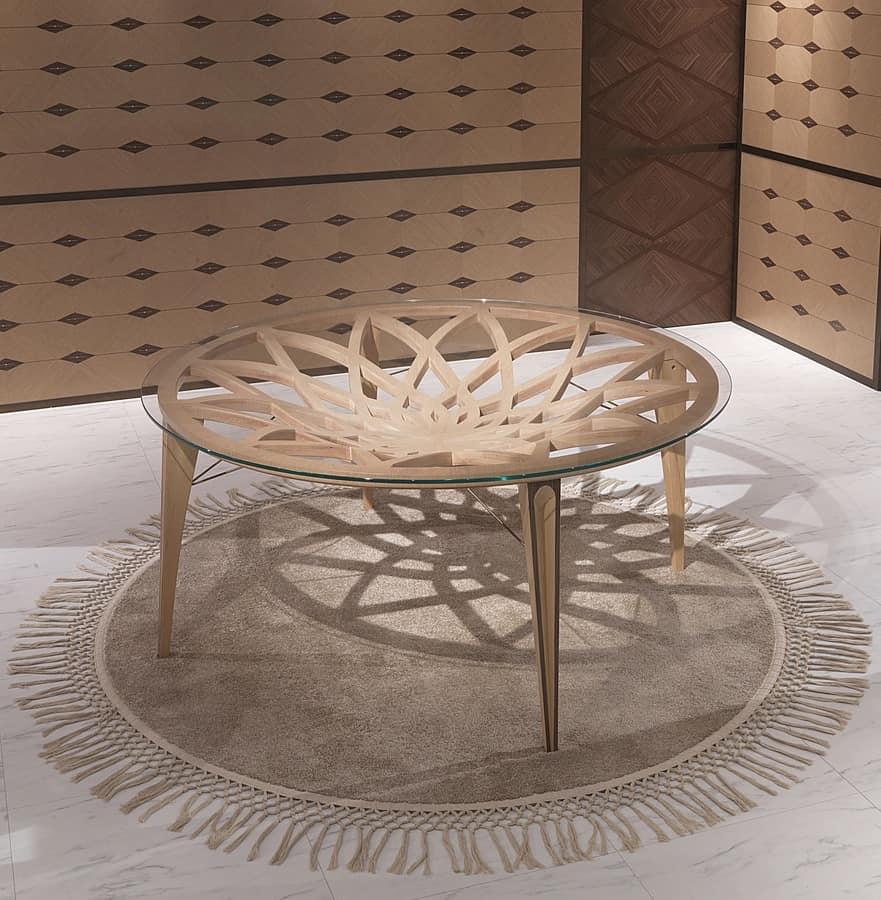 Tavolo rotondo in legno e vetro per salotti moderni for Tavolo da salotto moderno
