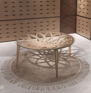 TA63 Galileo, Tavolo rotondo in legno e vetro, per salotti moderni